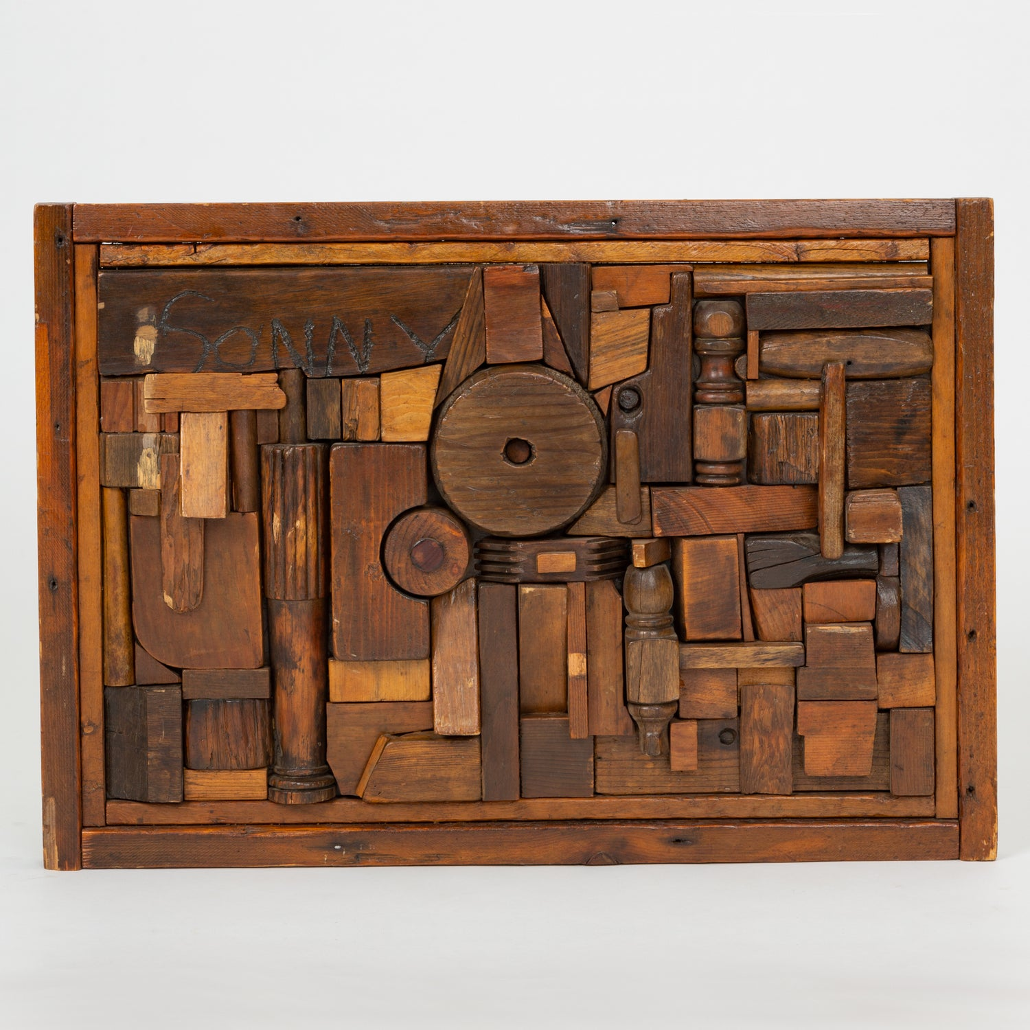 "Woodblock Assemblage ""Sonny"" by Francis Schanz"