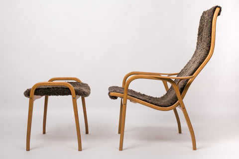 Yngve Ekström Lamino Chair and Ottoman with Sheepskin Upholstery