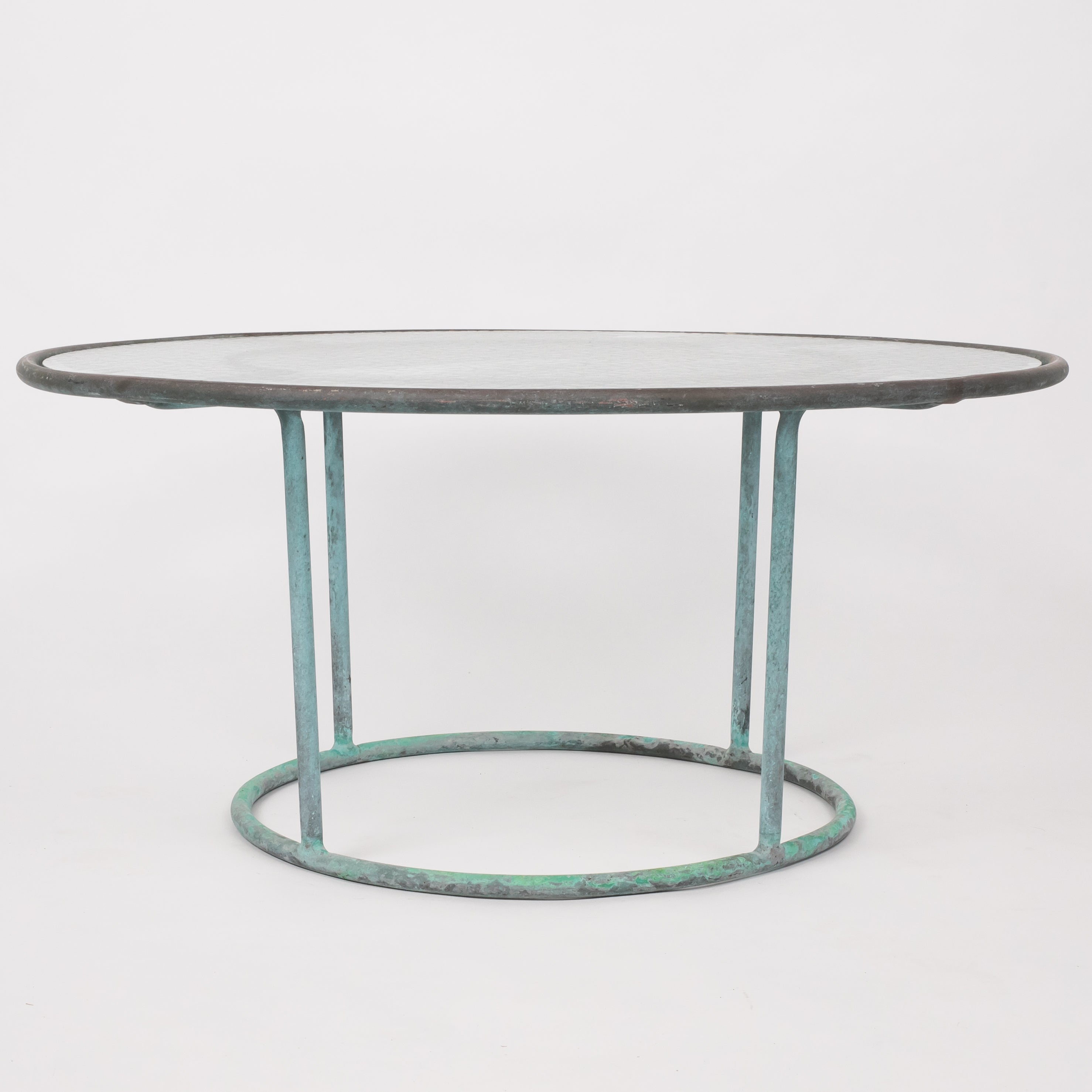 Walter Lamb Round Coffee Table with Hammered Glass Top – Den M¸bler