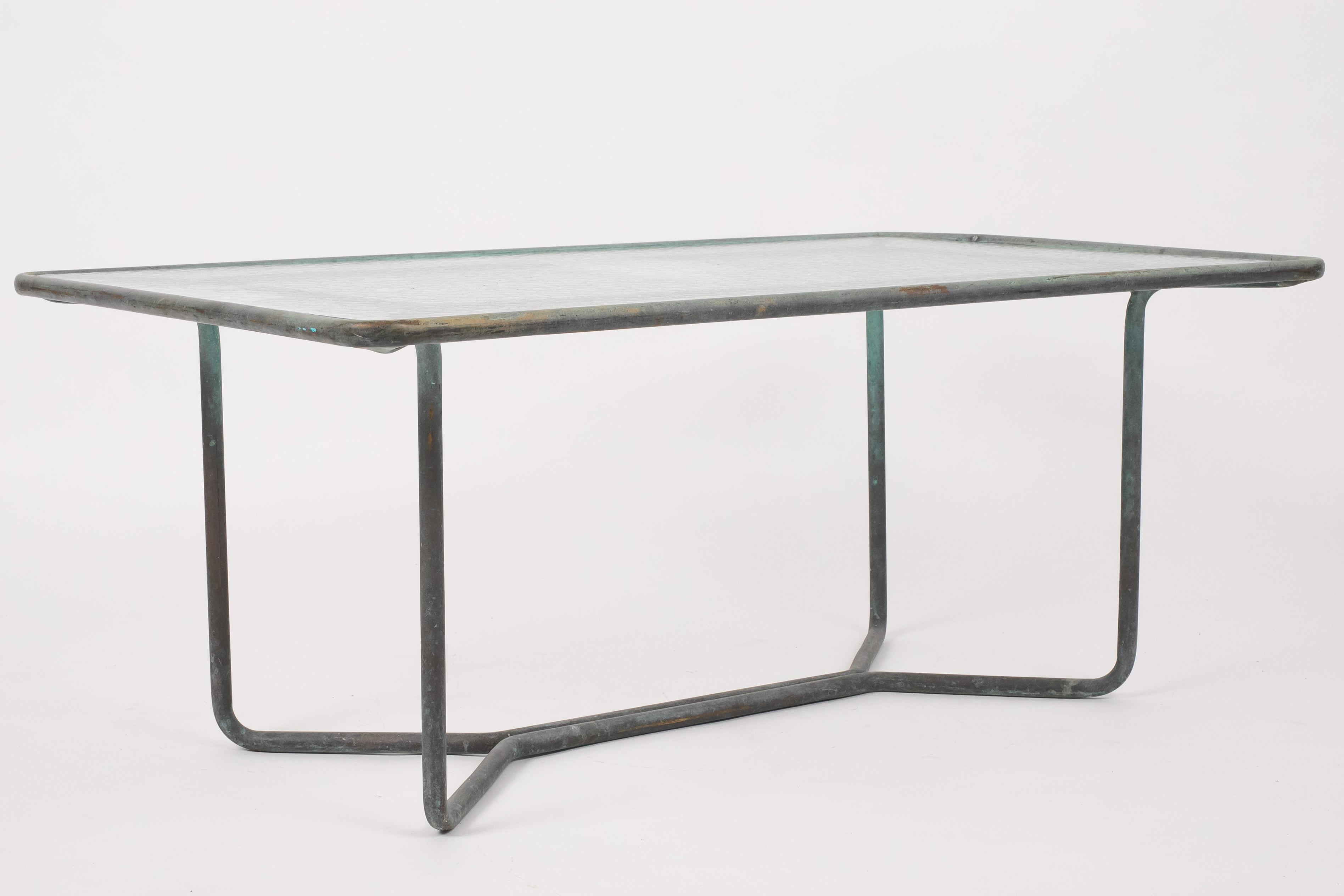 Walter Lamb Rectangular Coffee Table with Hammered Glass Top – Den