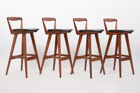 Set of Four Teak Bar Stools by Henry Rosengren Hansen for Brande Møbelindustri