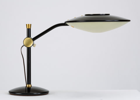 Black-Enameled Desk Lamp with Brass Accents by Dazor