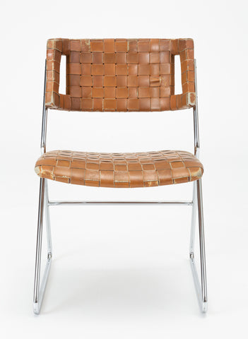Set of Four Dining Chairs with Woven Leather Upholstery by Chromcraft