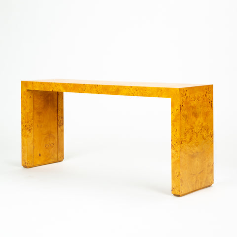 1970s Minimalist Burl Wood Console or Sofa Table