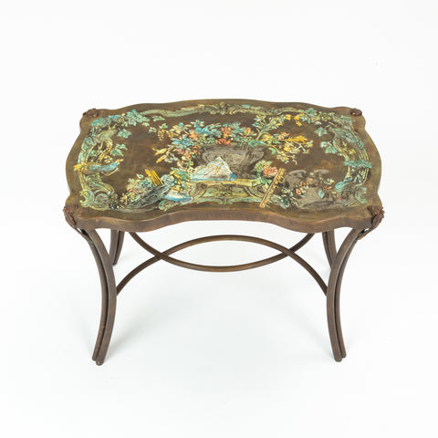 "Pair of ""Madame Pompadour"" Enameled Bronze Tables by Philip and Kelvin LaVerne"