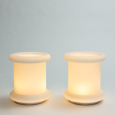 Pair of Illuminating Frosted Glass Side Tables by Laurel Lamp Co.
