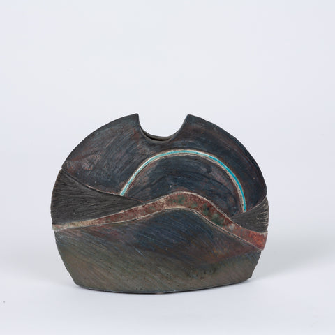 Half Moon Studio Pottery Vessel with Ebony Glaze