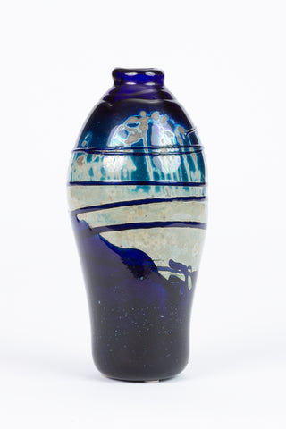Hand Blown Art Glass Vase with Blue Gloss Striated Drip Finish