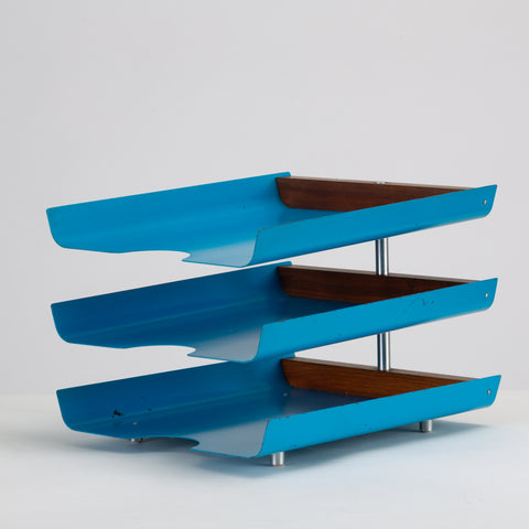 Peter Pepper Products Three-Tiered Paper Tray in Original Blue Enamel