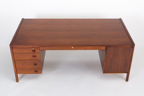Walnut Executive Desk with Rosewood and Brass Details by Edward Wormley for Dunbar