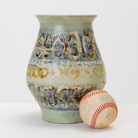 Wide-Mouthed Studio Pottery Vase with Blue Striped Glaze