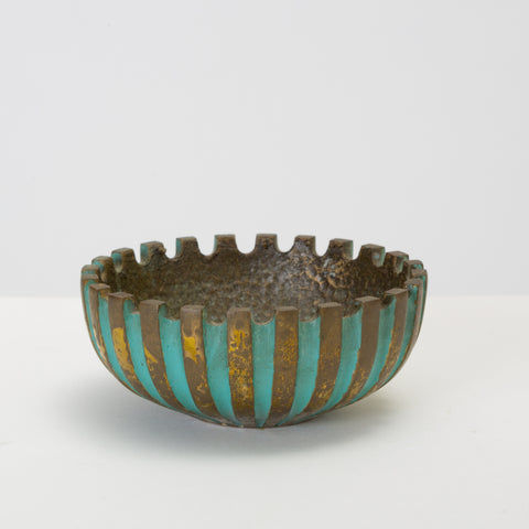 Cast Bronze Ashtray with Verdigris Finish by Oppenheim