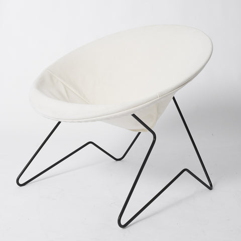 Single Cantilevered Modernist Hoop Chair with Canvas Cover