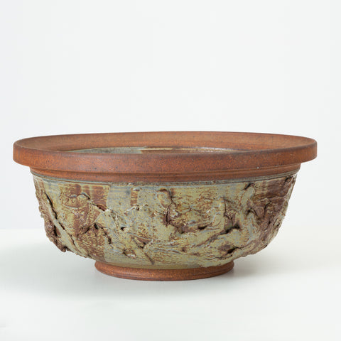 Ed Drahanchuk Large Appliquéd Stoneware Decorative or Serving Bowl