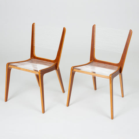 Pair of Canadian Modernist Cord Chairs by Jacques Guillon