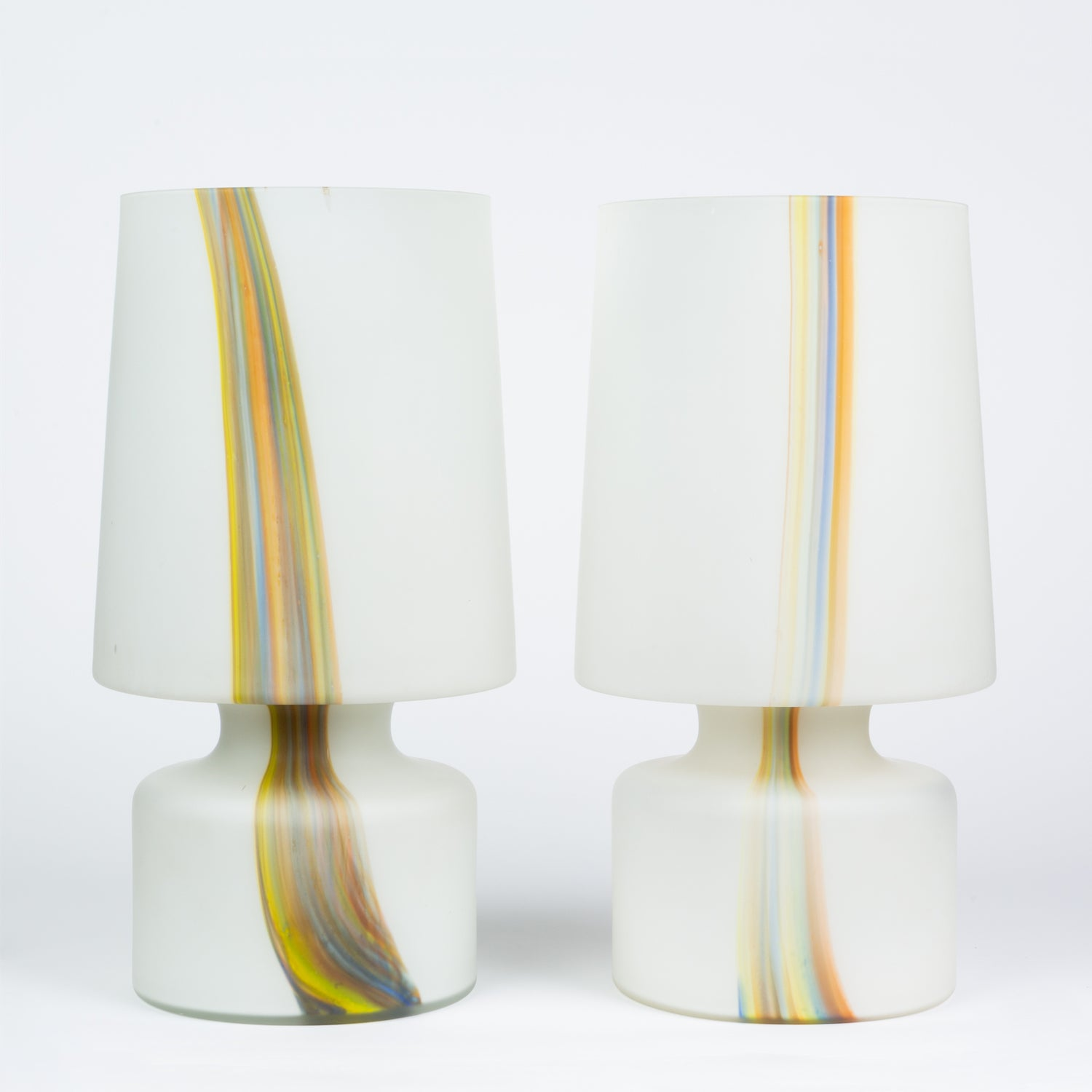 Pair of Frosted Glass Lamps with Multicolor Detail by Laurel Lamp Co.