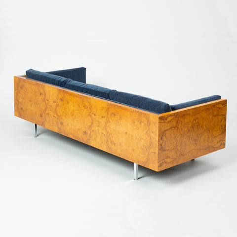 Milo Baughman Burl Wood Case Sofa for Thayer Coggin