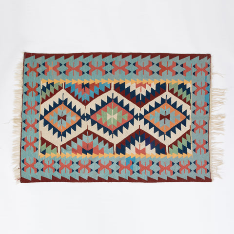 Vintage Modern Kilim in Blue and Rose Tones