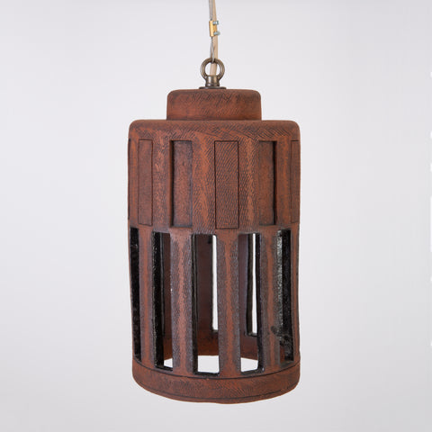 1960s California Studio Pottery Cylindrical Pendant Light Fixture with Rectangular Impressions