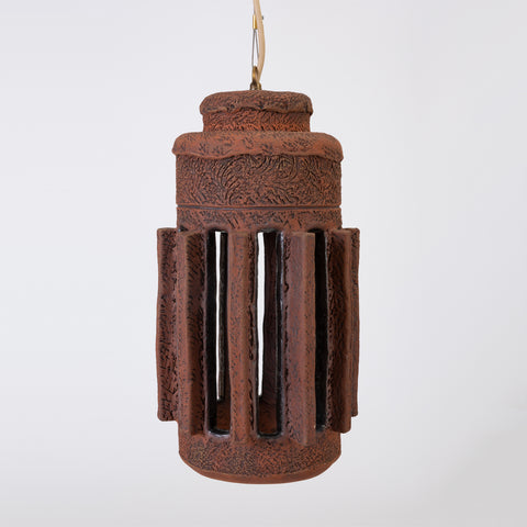 1960s California Studio Pottery Cylindrical Pendant Light Fixture with Raised Vents