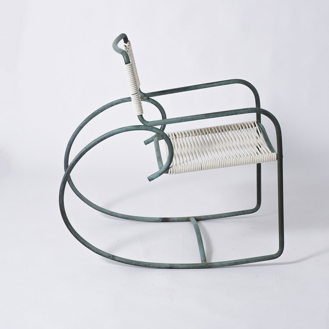single patio rocking chair in bronze by walter lamb