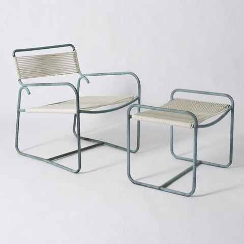 Patio Lounge Chair and Ottoman Set by Walter Lamb