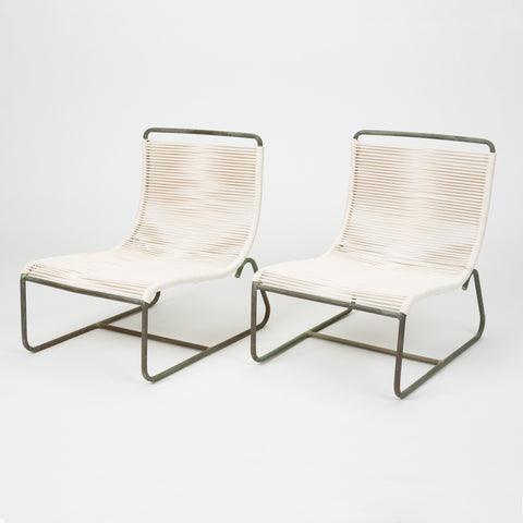 Pair of Walter Lamb for Brown Jordan Patio Sleigh Chairs