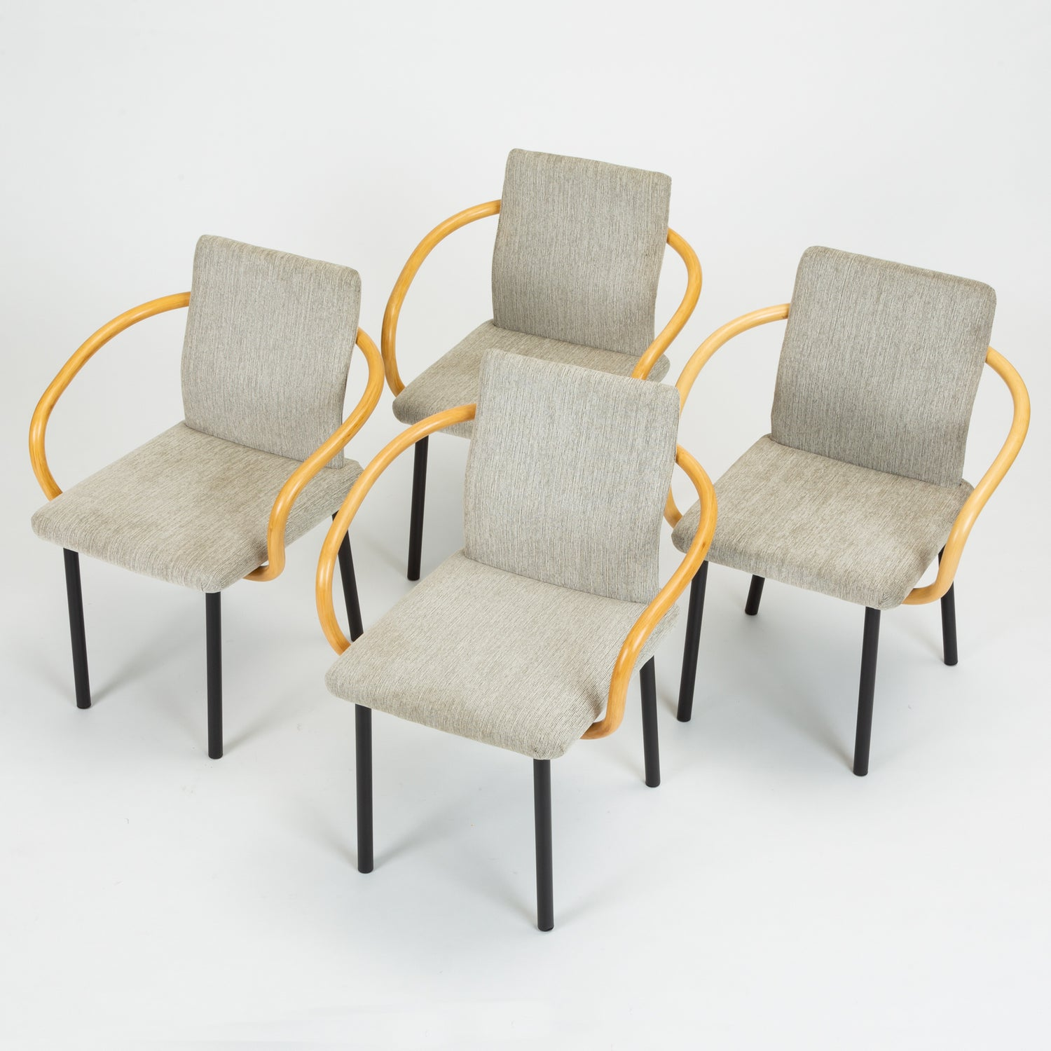 Set of Four Bamboo Mandarin Chairs by Ettore Sottsass for Knoll