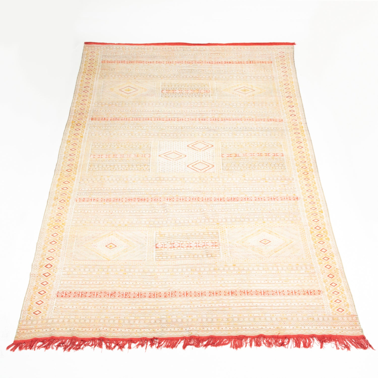 Intricate Soumak Area Rug in Soft Neutral Tones; Beige, Green and Red