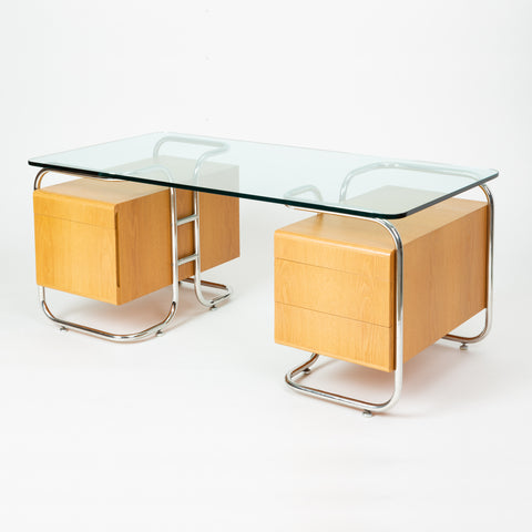 Pace Collection Desk with Tubular Frame and Glass Top