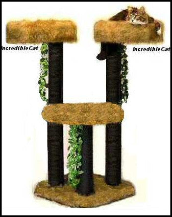 4 Foot Boulder Twin Two Luxury Cat Beds & Landing