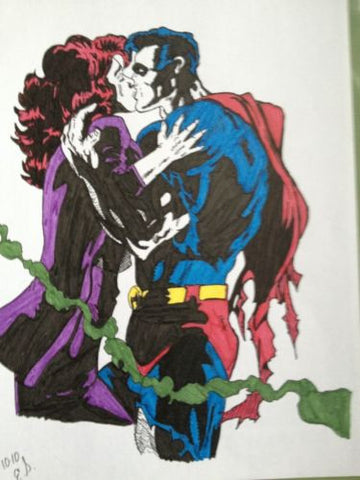 Superman and Louis Kissing Art Illustration