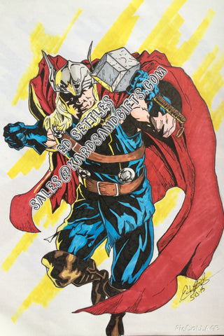 Thor Avengers Comic Art Drawing signed by Ed Settles