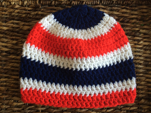 Red White and Blue USA Patriotic Adult Crochet Beanie