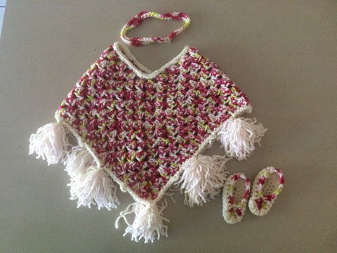 Pink & Green Poncho Set