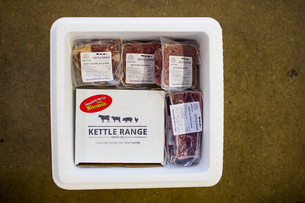 monthly meat share packing cooler, delivered to your door