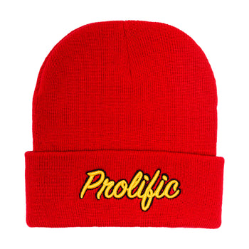 Prolific Script Beanie- Red