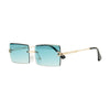 Rimless Square Glasses - Blue
