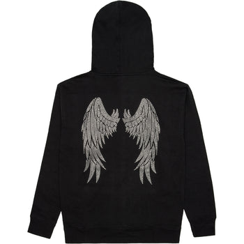 Angel Wings Rhinestone Hoodie - Black