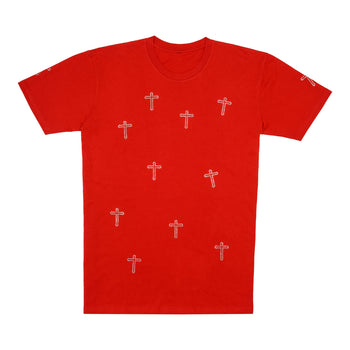 Crosses Rhinestone Tee - Red