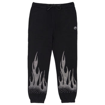 Rhinestone Flames Sweatpant - Black