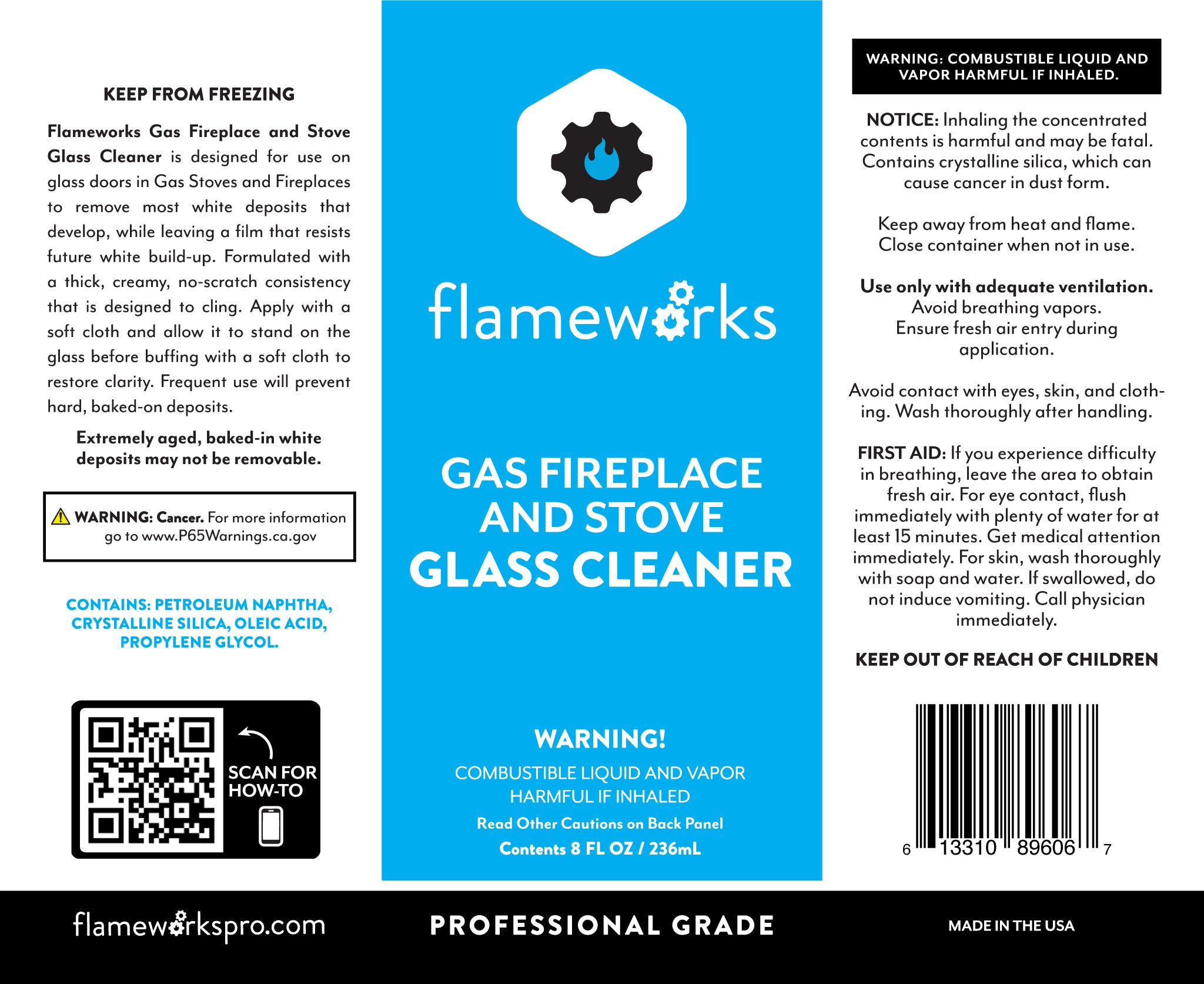 Flameworks 8oz GLASS CLEANER