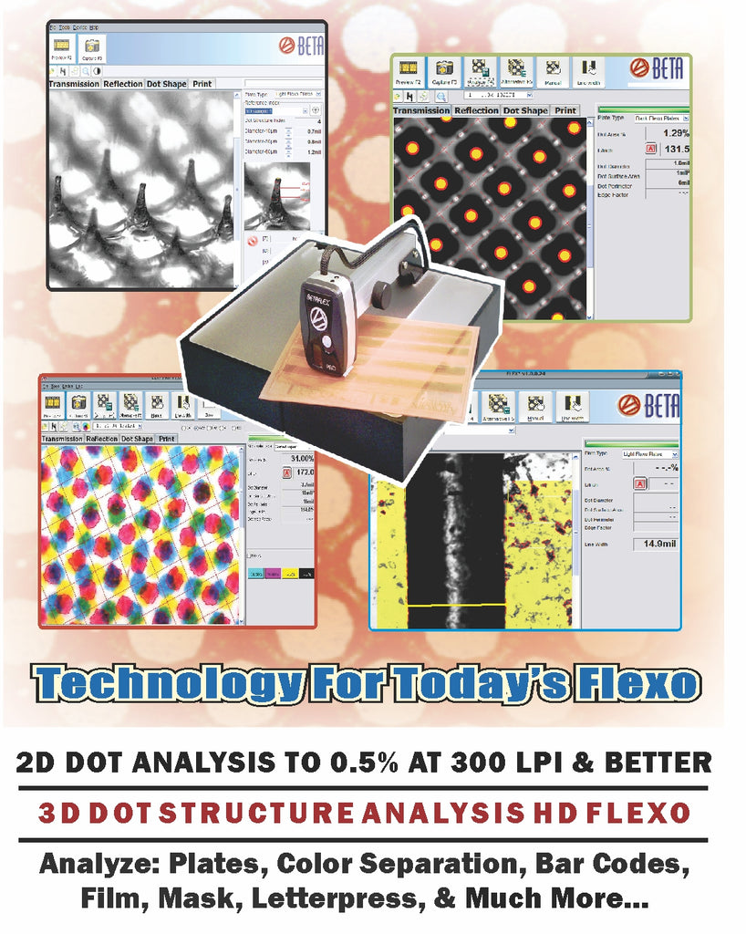 BETAFLEX PRO FLEXO PLATE & IMAGE ANALYZER - ALL-IN-ONE FLEXO ANALYZER / TECHNOLOGY FOR TODAY'S FLEXO