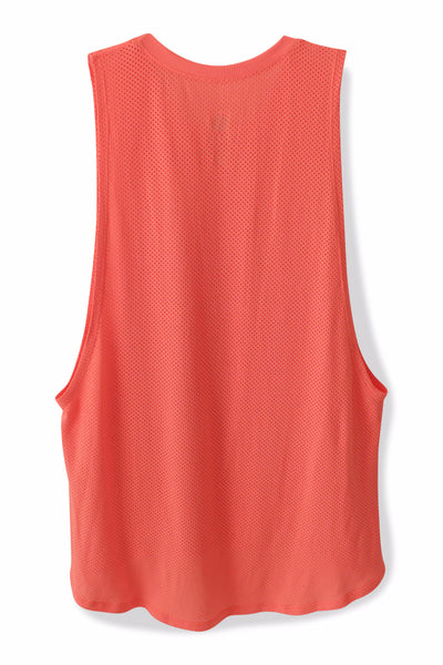 Fit Squad Mesh Muscle Tank - Neon Coral