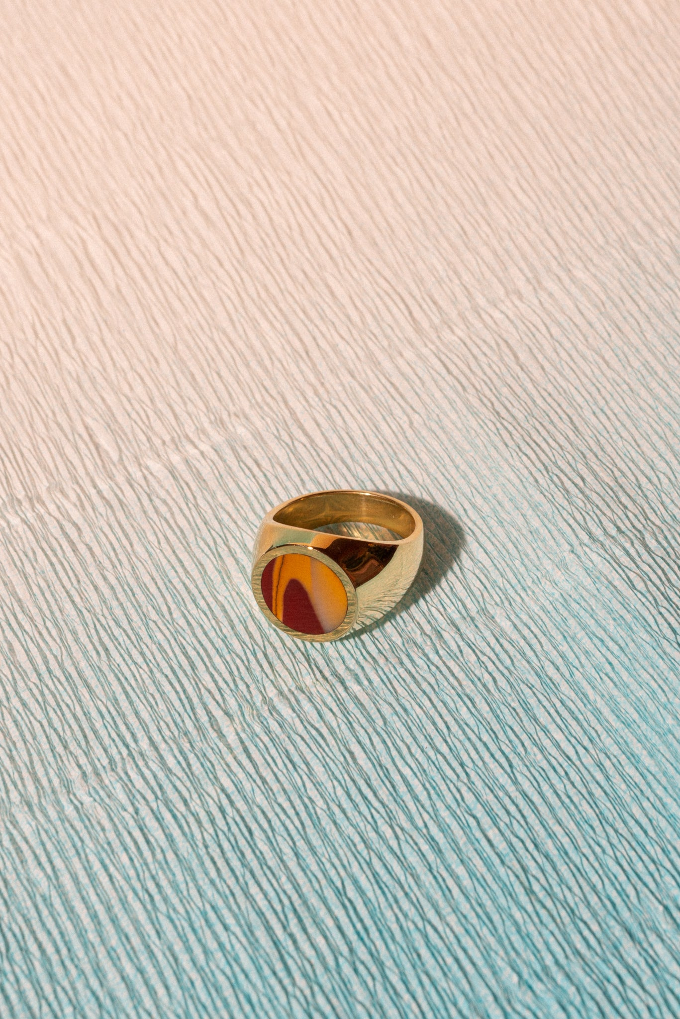Round Sunset Stone Signet Ring