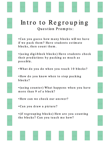 Freebie Formative Assessment Question Prompts: Intro to Regrouping