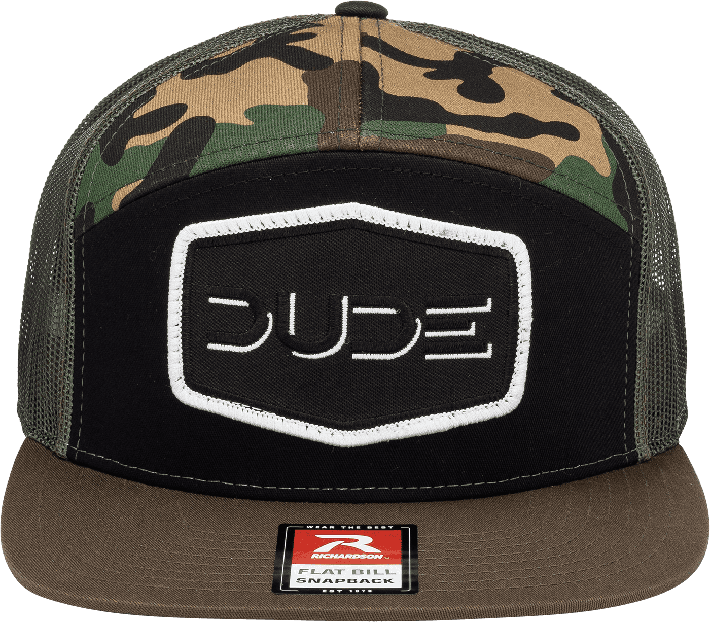 Camo, 7 Panel Flat Bill - DudeProducts