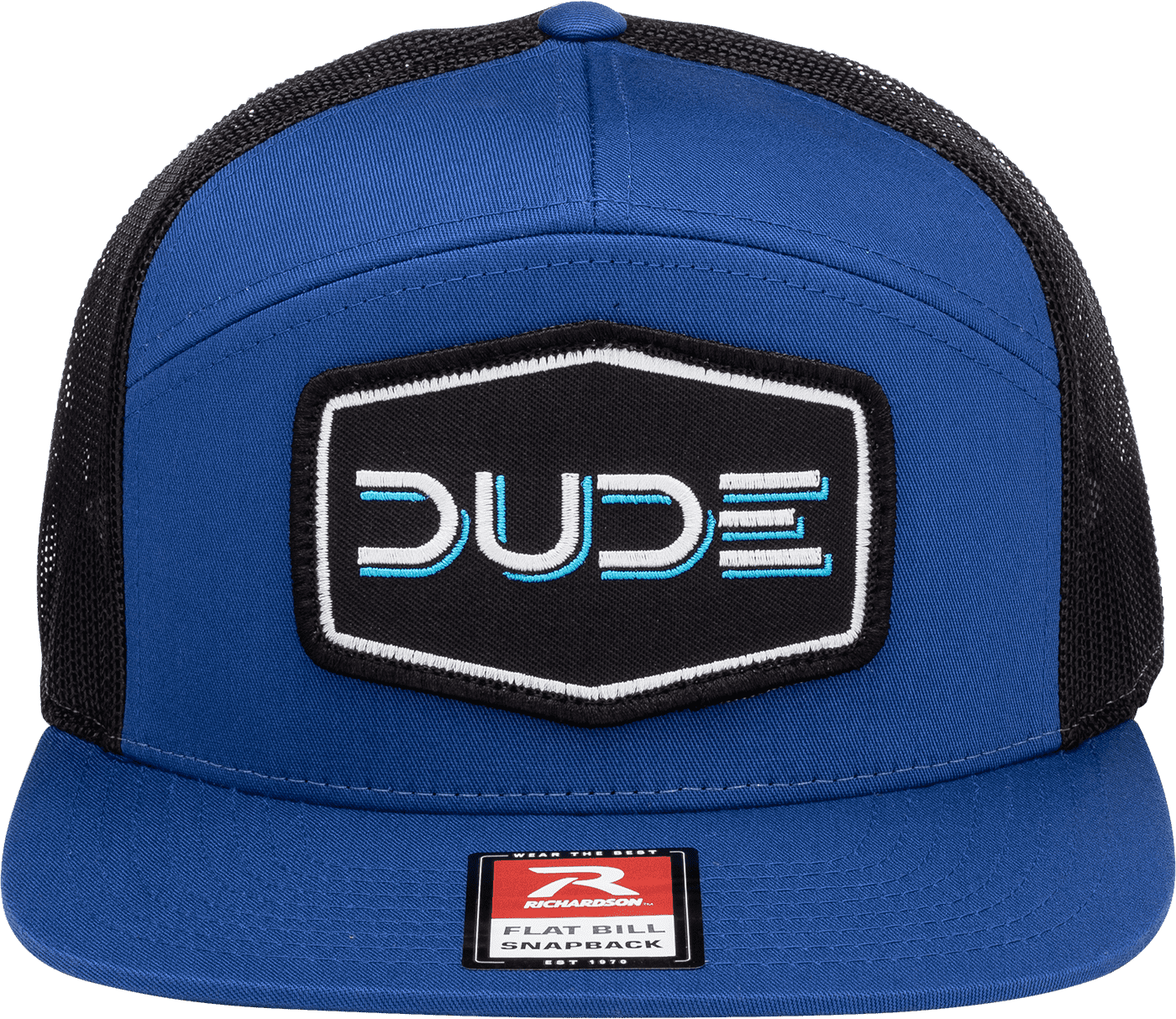Royal & Black, 7 Panel Flat Bill - DudeProducts