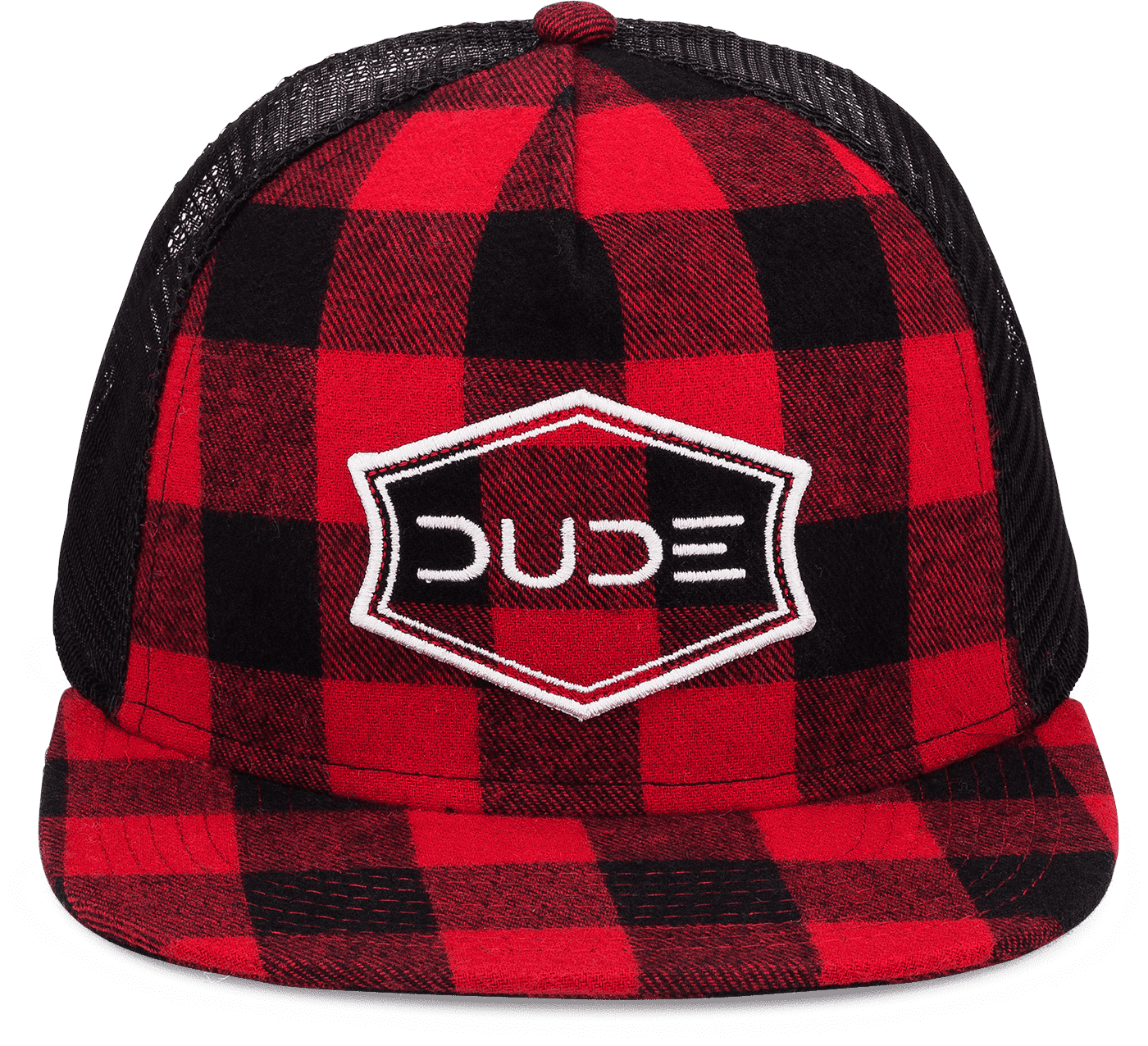 Red, Buffalo Check Flatbill Trucker Snapback - DudeProducts