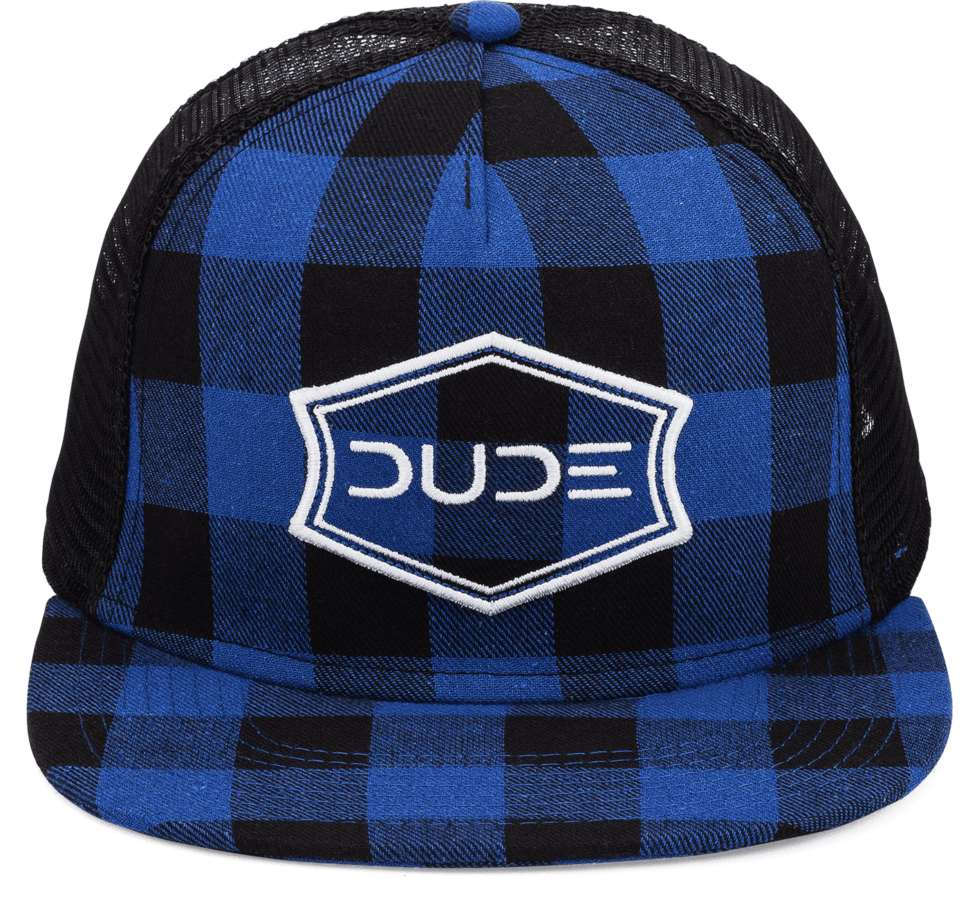 Blue, Buffalo Check Flatbill Trucker Snapback - DUDE Products